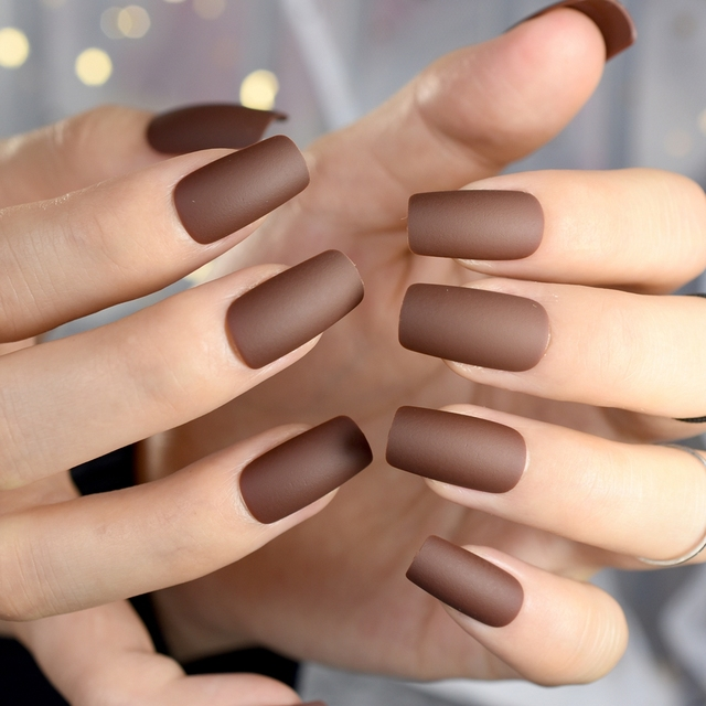 Chocolate Brown Fake Nails Matte Frost Full Nails Long Square Nail