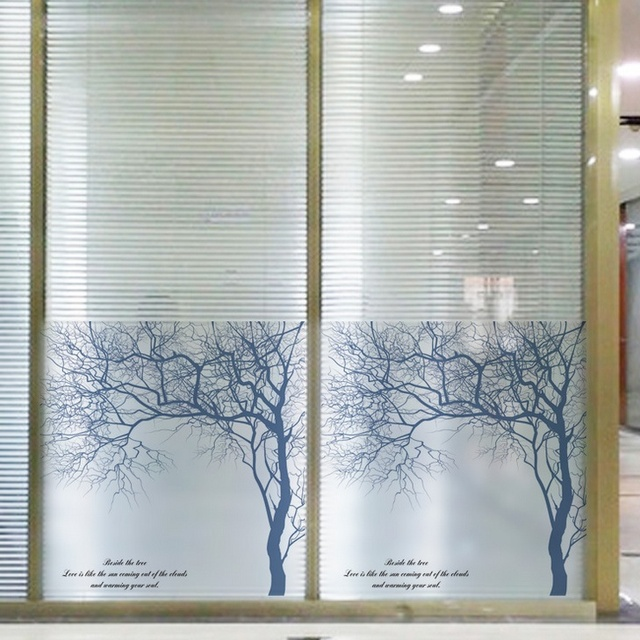 60 58cm frosted opaque white birch glass window film glass for Stickers fenetre opaque