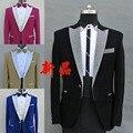 (Chaqueta + pantalones) azul negro amarillo rojo traje masculino bailarín cantante el anfitrión masculino masculino MC vestido trajes de la etapa será la sede de los hombres trajes