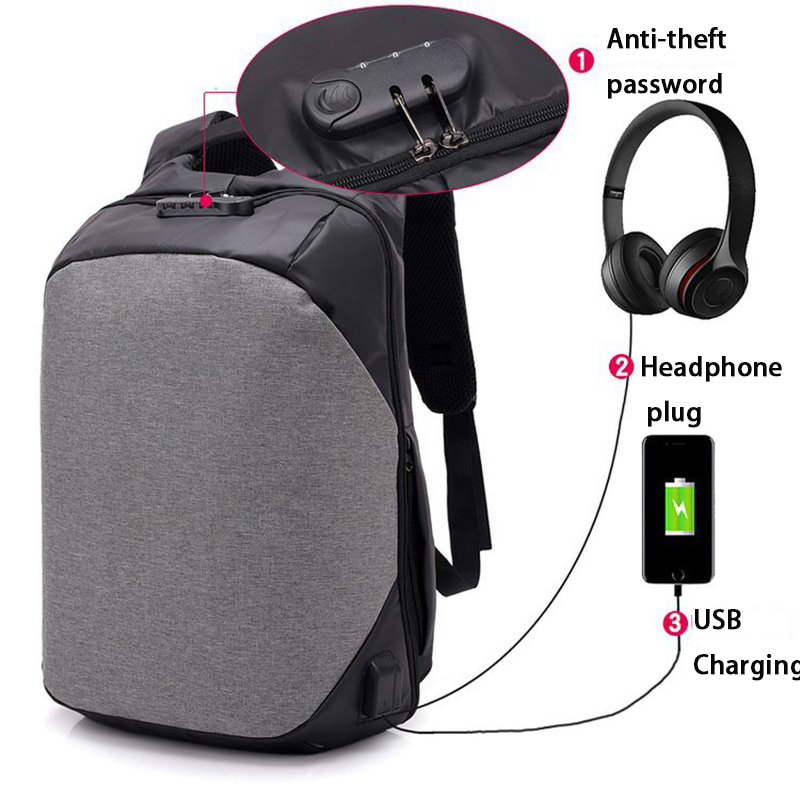 USB Charging Male Anti Theft Backpack Large Capacity Laptop Multifunction Waterproof Tra ...