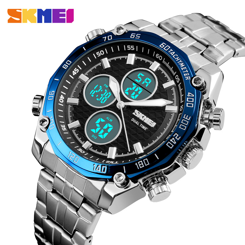 <font><b>SKMEI</b></font> Mens Watches Top Luxury Brand Watch Gold LED Digit Sport Stopwatch Military Watch Waterproof Quartz Analog Wristwatch New image