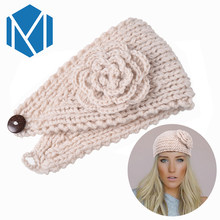 M MISM Classic Knitting Flower Hair Band Winter Warm Turban Ear Headband Crochet Headwrap Wide Size Wool Warmers For Women Girls(China)