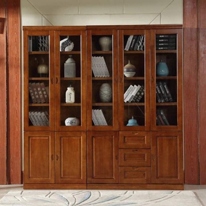 Furniture modern Simple Solid wood 2/3/5 door combination bookcase