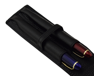 Image 1 - Genuine High Quality Leather Fountain Pen Case / Bag for 2 Pens   Black Pen Holder / Pouch