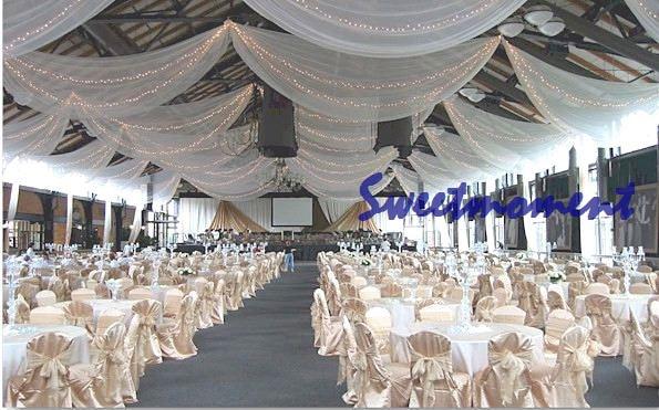 blanc luxe de marie toit drap canopy draperie pour dcoration de mariage tissujpg - Drap Mariage Plafond