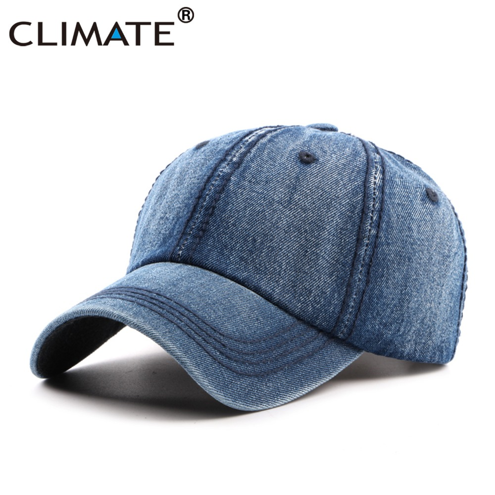 CLIMATE Men Blank Cool Denim Baseball Caps Casual Jeans Wear Cap Men Women  Fashion Adjustable One Size Navy Blue Cool Hat Caps 6a58ac06b34