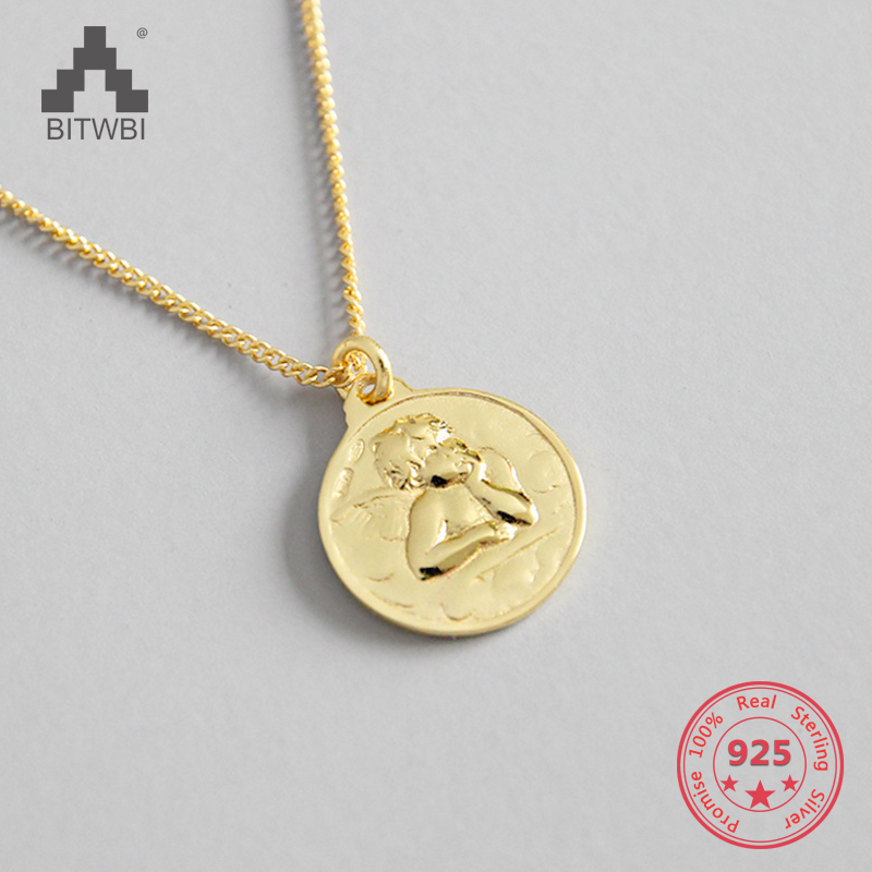 2019 Mode S925 Sterling Silber Einfache Persönlichkeit Amor Engel Runde Karte Tag Kurze Kragen Knochen Halskette Kette Dekoration