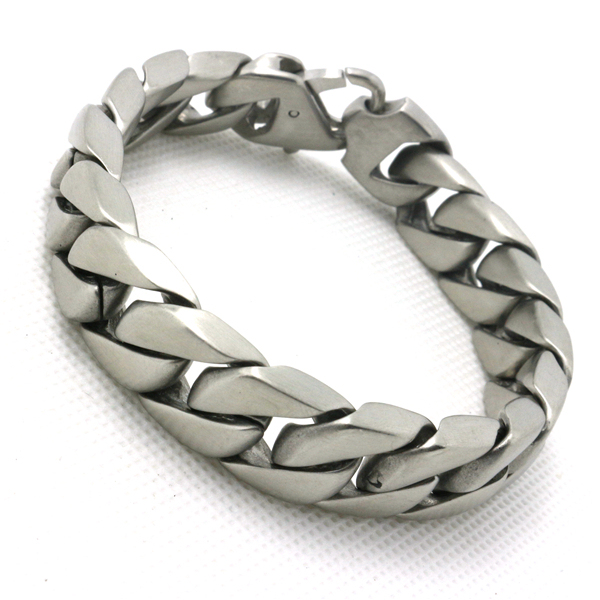 Us 15 16 30 Off Newest Design Unisex 316l Stainless Steel Cool Dull Polish Silver Bracelet In Chain Link Bracelets From Jewelry Accessories On