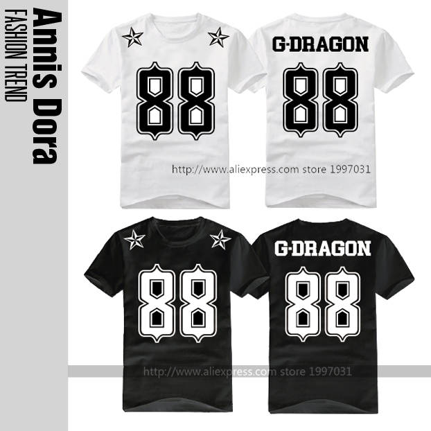 5e444422b4e Online Shop KPOP YG BIGBANG G-Dragon GD name Birthday numbers 88 logo Short  sleeved T-shirt