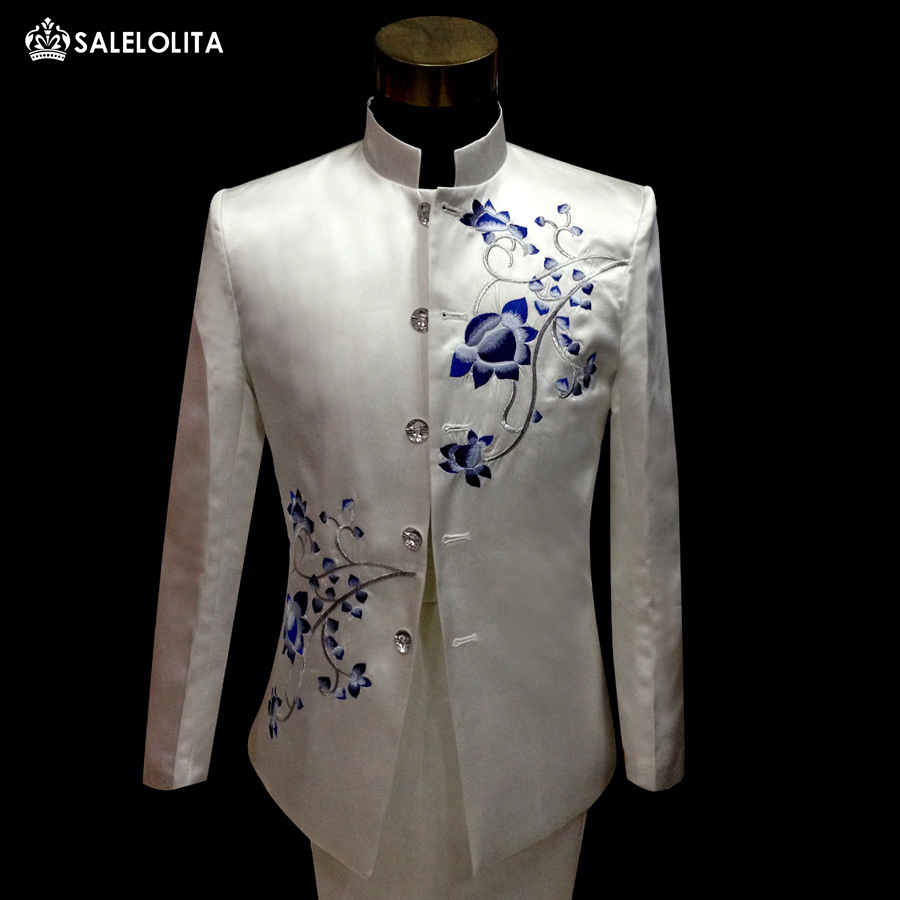Wedding White Or Blue Shirt: Plus Size Vintage Mens Blue And White Porcelain