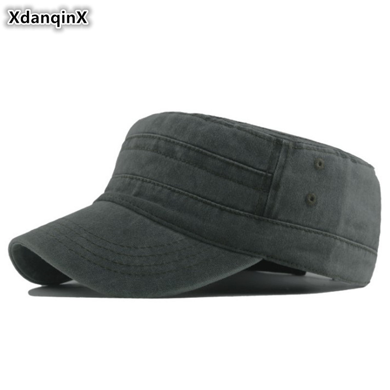XdanqinX 100% Cotton New Men's Flat Cap Washed Cloth Army Military Hat Adjustable Head Size Simple Fashion Solid Sports Caps