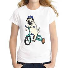 Funky T Shirts Broadcloth Design Animal Pugs  Crew Neck Short-Sleeve Womens Shirt