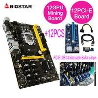 BIOSTAR Motherboard TB250 BTC PRO Support 12PCIE 12Pcs Riser Card For BTC Miner Machine Bitcoin Mining