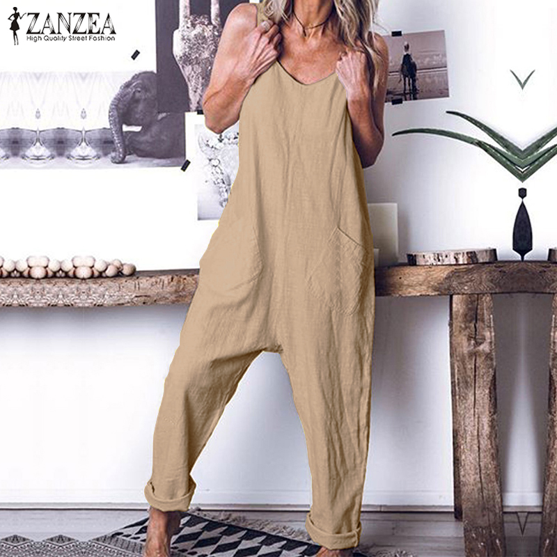 ZANZEA   Jumpsuit   Vintage Solid Combinaison Femme Women Sexy Sleeveless Backless Overalls 2019 Summer Long Mono Mujer Plus Size
