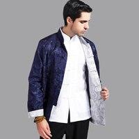 Dunkelblau Silber Reversible Kung Fu Jacke Chinesischen Männer Satin Zwei-Gesicht mantel hombres chaqueta abrigo Größe S M L XL XXL XXXL Mim01M