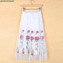купить Qbale Rose Flower Embroidery Skirt Midi Length Women 2017 Spring Summer Fashion High Waist Long Tulle Skirts по цене 911.84 рублей