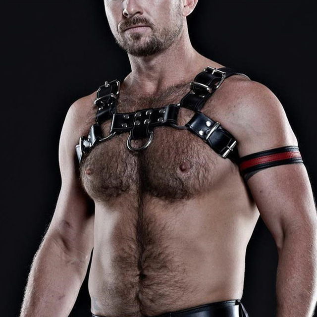 Men Bondage Leather Belt Cowboy Chest Muscle Straps Harness Clubwear Sex Bondage Metal Ring Nightclub Costume