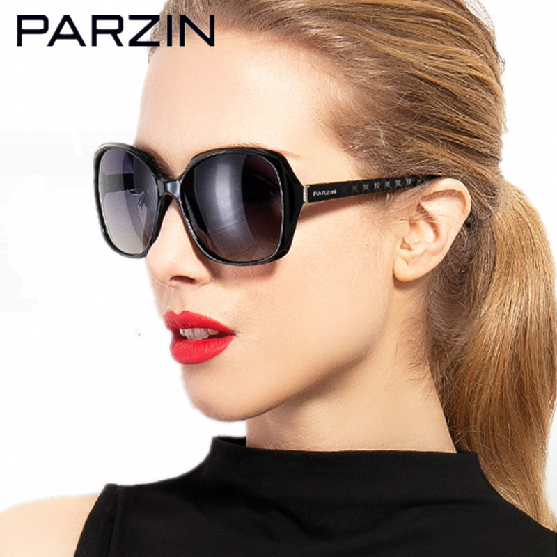 Syzet e diellit të polarizuar Parzin Gratë e grave Moda Dielli oversize për sjelljen e Oculos De Sol Feminino Me Rastin 9501