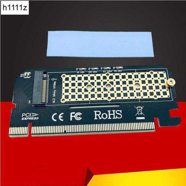 M.2 NVME بكيي إلى M2 محول LED NVME SSD M2 بكيي x16 التوسع بطاقة الكمبيوتر محول واجهة M.2 NVMe SSD NGFF إلى بكيي 3.0X16