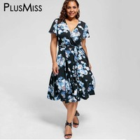 GIYI Plus Size 8XL 7XL 6XL 5XL Sexy V Neck Floral Print Boho Dress Women Big