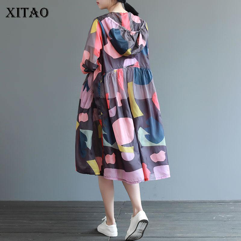 XITAO Plus Size Print Pattern   Trench   Women Korea Fashion New Wild Joker Cardigans Hoodies 2019 Autumn Elegant Patchwork WLD2105