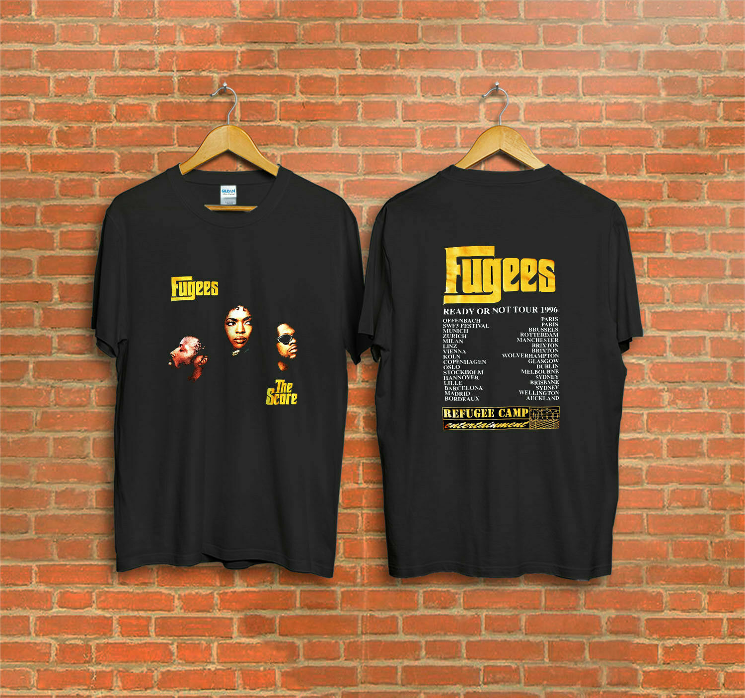 Vintage 1996 Fugees The Score Ready or Not Concert Tour   T  -  Shirt   Reprint 2018 Summer Men'S Brand Clothing O-Neck   T     Shirt