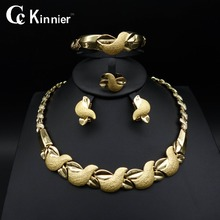 Tops Dubai gold plated Fashion wedding jewelry set Bridal African bead Exaggerated Attractive women Necklace Bangle Earring Ring gold plated embellished ring set