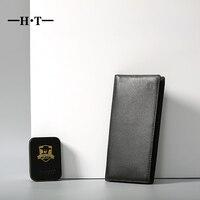 HT Torebka Długi Mężczyźni Portfel Projekt Prawdziwej Skóry Portfele Marki nowy Prosty Styl Bifold ID Card Holder Czarny Portmonetki mężczyzna