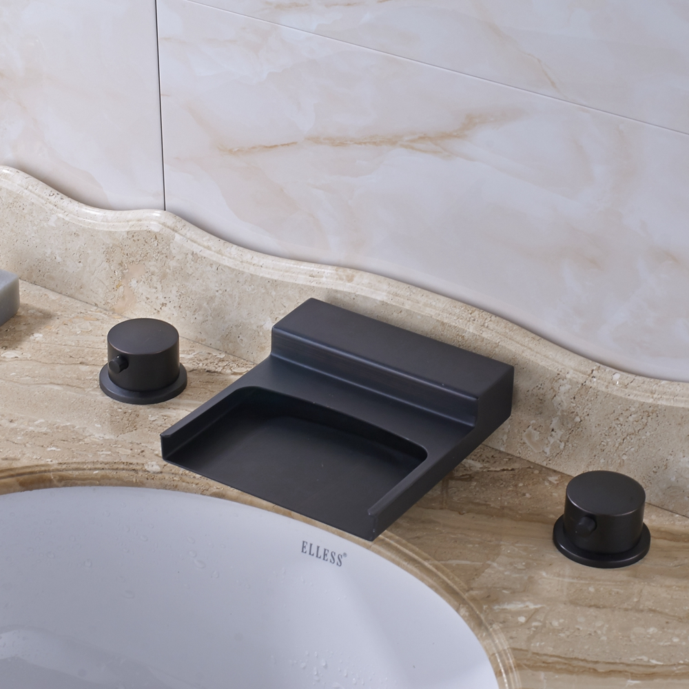 Luxury Square Waterfall Spout Dual Handles Bathroom Sink Faucet Mixer Tap Oil Rubbed Bronze For 8 Sink