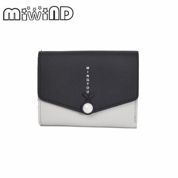 MIWIND Women Bow Pearl Wallet Long Solid Simple Hasp Women Purse Brand Female Wallet Clutch Lady Fashion Evening Bag Clutches yuanyu 2018 new hot free shipping pearl fish skin long women clutches euramerican fashion leisure female clutches