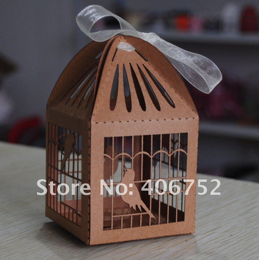 Kraft paper 50pcs/lot brown color diy chocolate gift box laser cut bird cage gift packaging box with ribbons