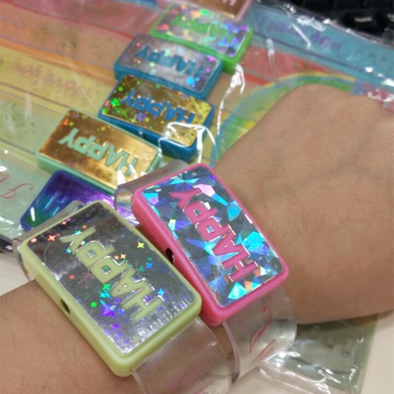 20pcs/lot HAPPY led Flashing wrist band led bracelet glowing light up toy for concert bar KTV party decoration