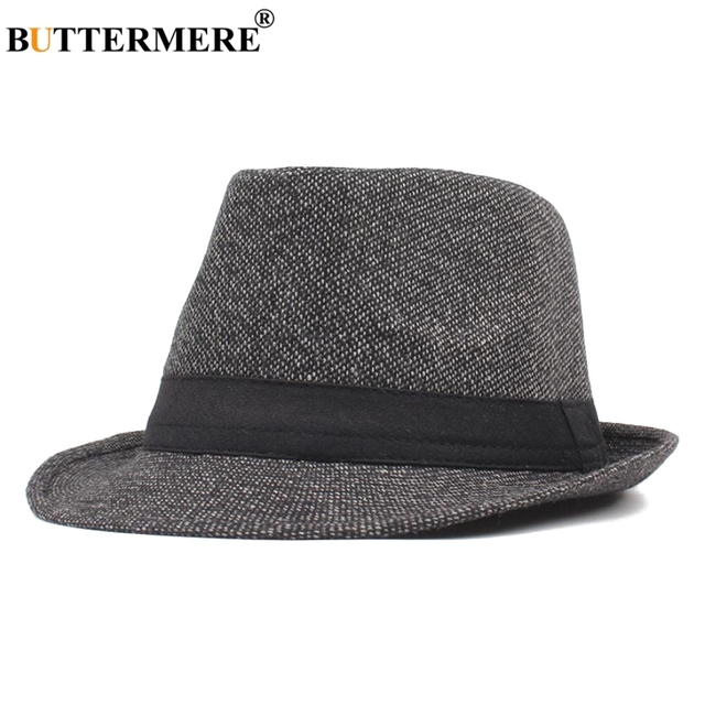 BUTTERMERE Mens Fedora Hat Cotton Black Jazz Hats Male Vintage Wide Brim  British Style Classic Autumn Fedora Caps Fashion 2019 7fb78978152