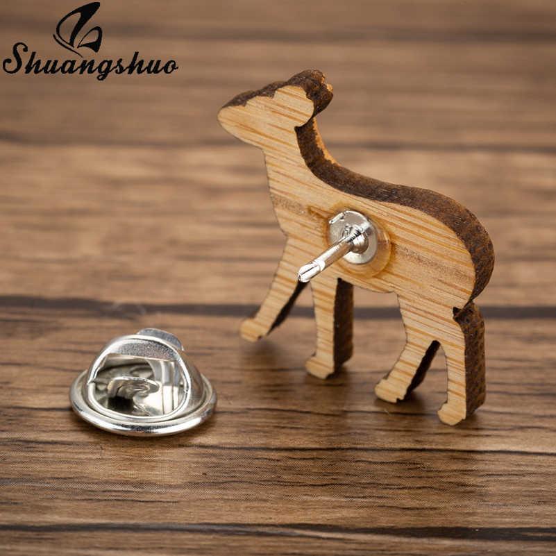 Shuangshuo брошь «олень» булавки для женщин мультфильм животных Нагрудный значок покрытый эмалью деревянный значок брошь-значок джинсовая одежда аксессуары подарок