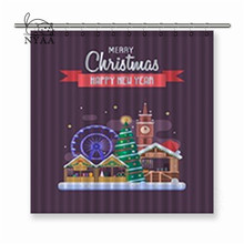 Nyaa Merry Christmas Winter Festival Winter Holidays Congratulation Polyester Fabric Shower Curtain For Bathroom with Hooks(China)