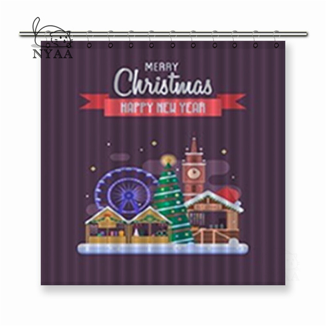 Nyaa Merry Christmas Winter Festival Winter Holidays Congratulation Polyester Fabric Shower Curtain For Bathroom with Hooks
