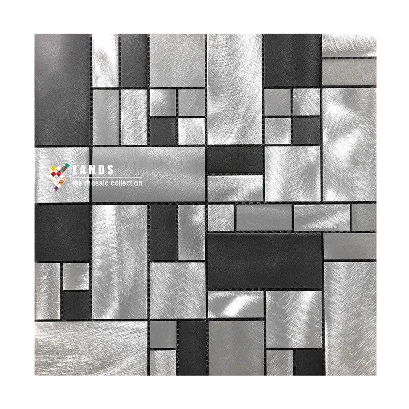 Black Metal kitchen backsplash mosaic wall tiles.interior wall decor DIY sticker tile,Aluminium modern tiles art design,LSALD01 glossy shiny finish stainless steel mosaic tile mesh mounted kitchen backsplash tiles metal mosaic tile home decor sticker sa202