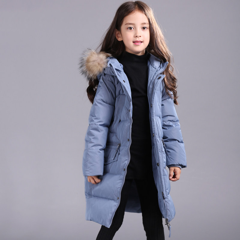 2017 Girls Winter Down Jacket Warm Thick Outwear Fashion Long Design Kids Parka Coat for Teens Age 56789 10 11 12 Years old 2017 autumn girls blouse ruffle hem flare sleeves blue striped letter design for teens at age 56789 10 11 12 13 14t years old