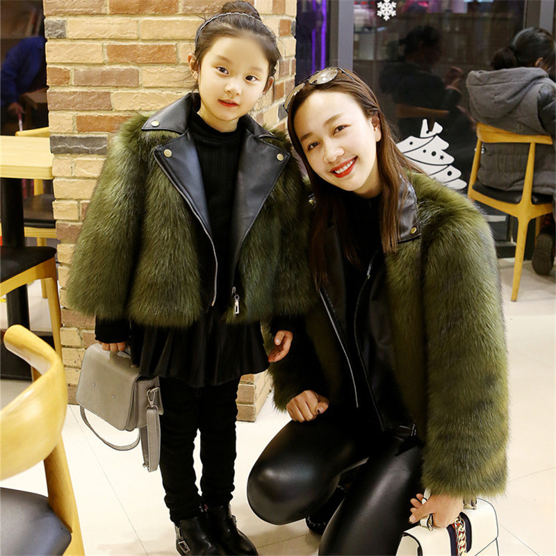 LILIGIRL Winter Mother Daughter Christmas Faux Fur Leathe Coat Outwear For Family Christmas Matching Clothes Jacket