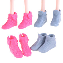 2styles Pink/blue Shoes For Barbie Doll Mini Toy Shoes Doll Accessories Baby Girl Birthday New Year Present For Kids(China)