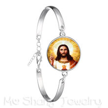 2018 New Style Blessed Virgin Mary Mother Of Baby Bracelet Jesus Christian Catholic Religious Glass Jesus Bangle For Gift(China)