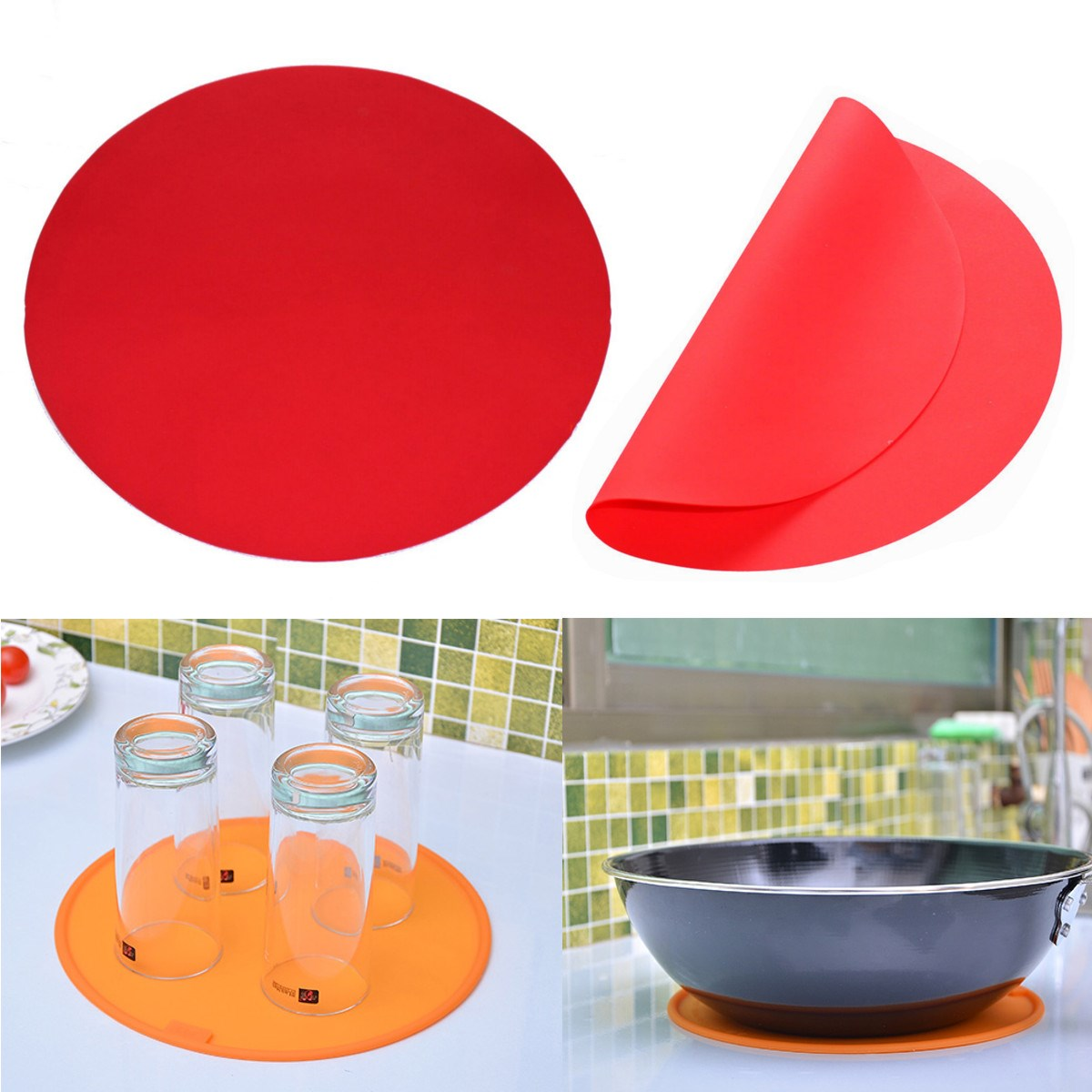 Round Silicone Baking Mat 30cm Oven Cookie Pizza Sheet ...