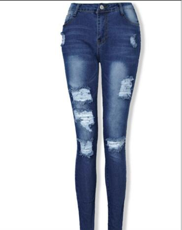 2017 new style Hole Ripped Jeans Women Jeans Woman Jeans For Girls Stretch Mid Waist Skinny ...