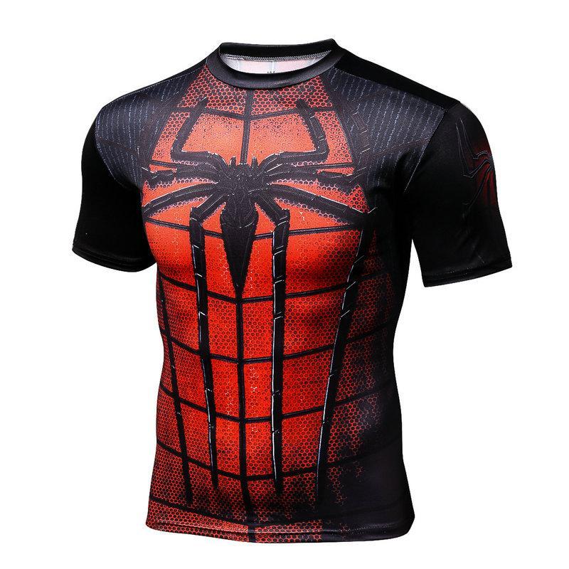 <font><b>Spiderman</b></font> <font><b>Costume</b></font> 2017bike Sleeve 2017 Compression jerseys Men bike jerseyshero Slim Fit Tight jerseys Marvel Comic Spider-man C