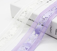 Solid Color Organza Ribbon Polyester Hart Lace Ultrasonic Embossing Stars For DIY Box Decor Accessoires 9mm 1.5 Inch 38mm