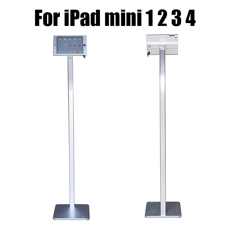 Aluminum ipad floor stand tablet security lock case tablet display housing support retail anti theft rack for Ipad mini 1 2 3 4 fit for ipad mini1 2 3 4 wall mount aluminum metal case bracket security desktop support for ipad mini holder for tablet