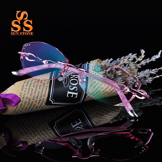 Марка Женщины Элегантный Оправы Градиент Линзы Оптические Очки С Диоптрий Моды Алмазная Резка Businiss Близорукость Очки F138