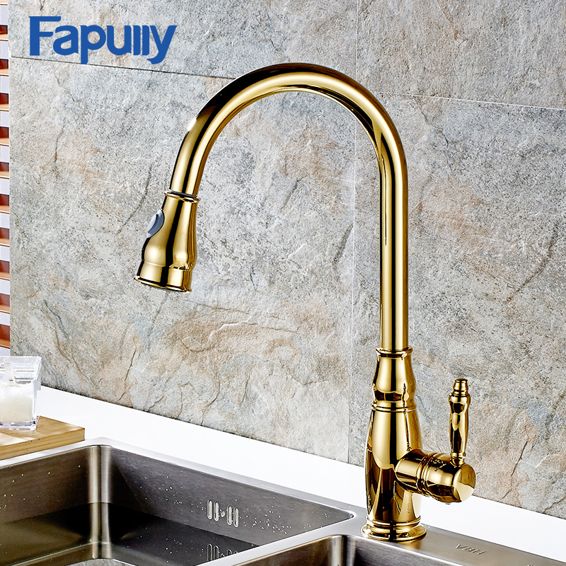 цена на Fapully Gold Copper Kitchen Faucet Pull Out Rotatable Single Handle Sink Mixer Tap Deck Mounted Faucet Torneira De Czinha