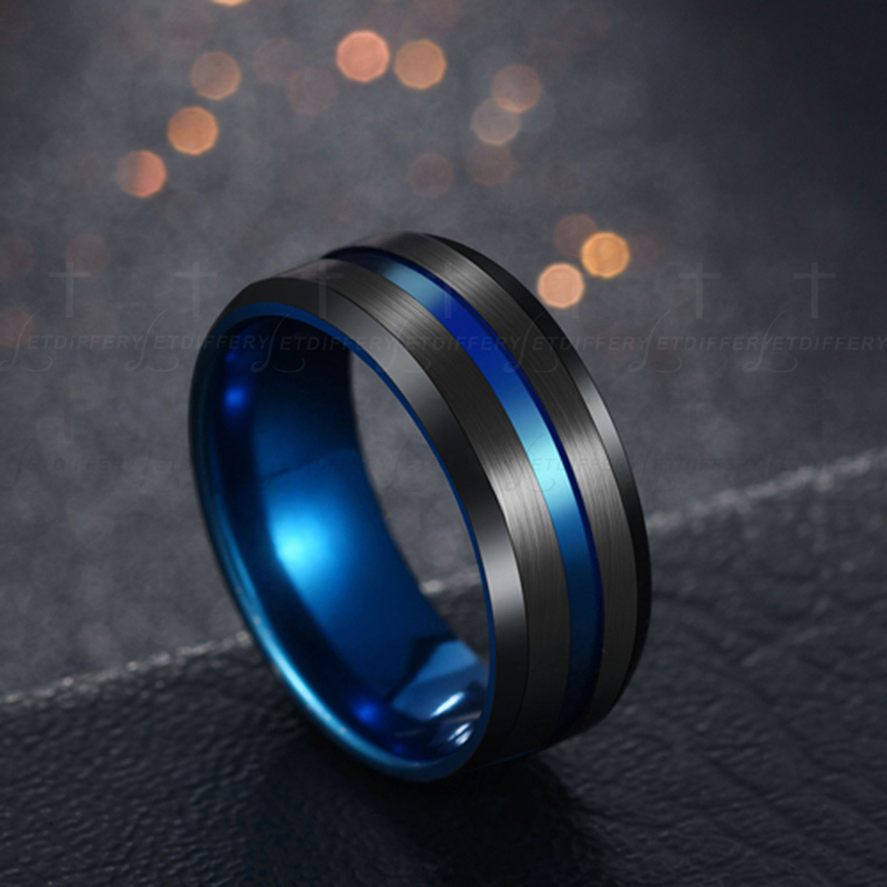 US $0 98 20% OFF|Letdiffery Hot Sale Groove Rings Black Blu Stainless Steel  Midi Rings For Men Charm Male Jewelry Dropshipping-in Rings from Jewelry &