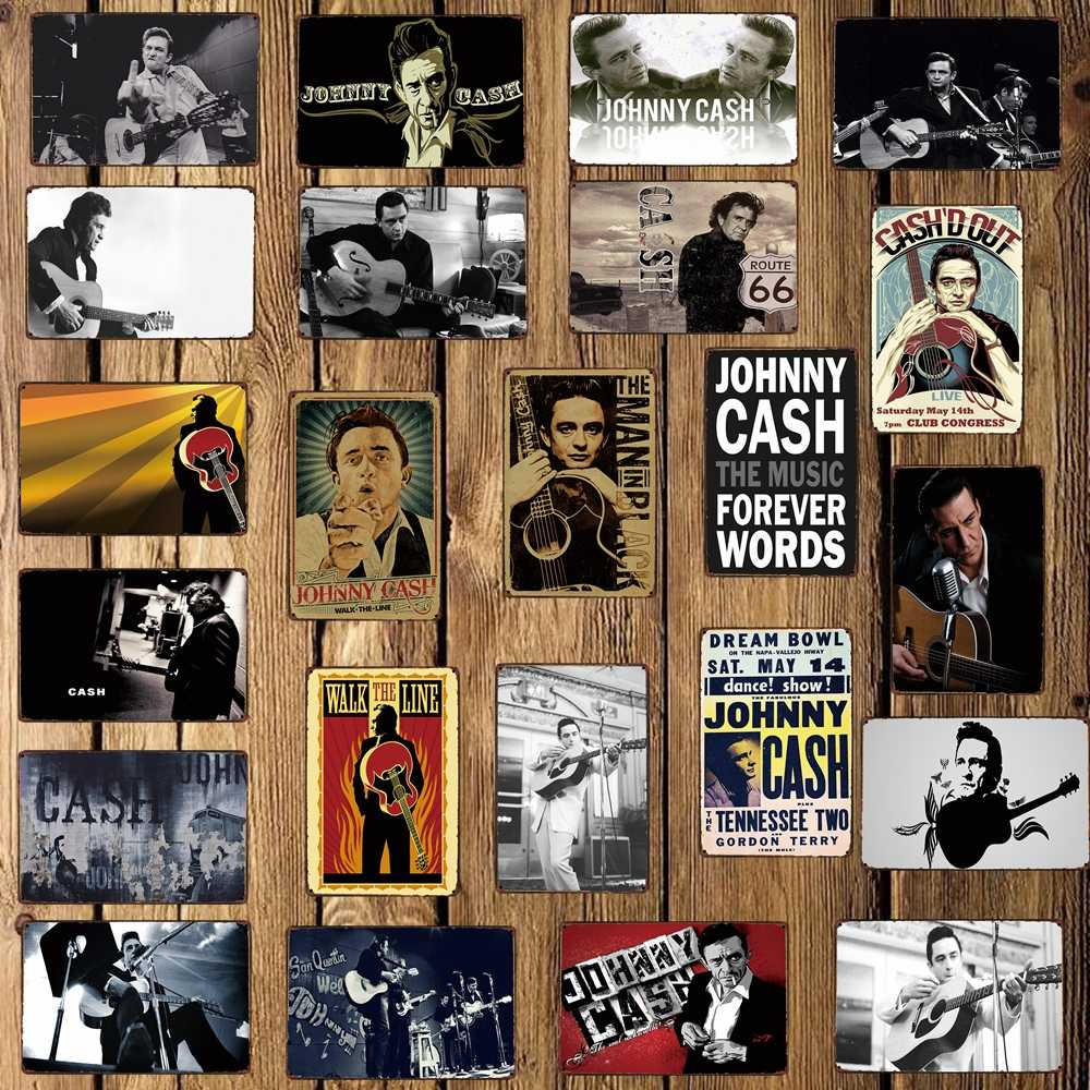 [ WellCraft ] JOHNNY CASH  Metal Signs MUSIC STAR Poster Decor for Bar Pub Iron Painting Home 20*30 CM FG-218